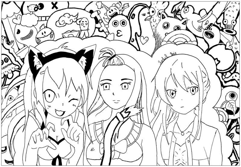Kolorowanki Dla Doroslych Manga Anime Do Wydruku Czesc 1