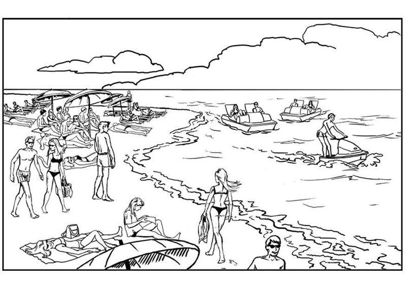 Kolorowanki dla doros ych krajobrazy do wydruku - Dessin vacances mer ...