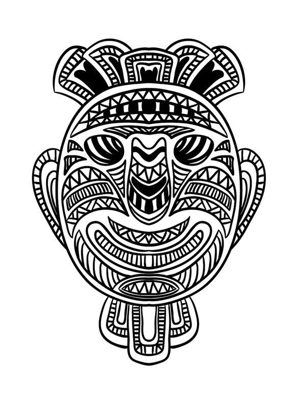 Kolorowanki Dla Dorosłych Afrykańskie Maski Do Wydruku