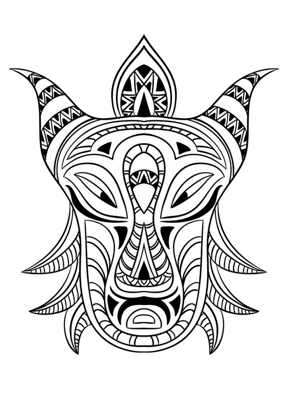 african tribal mask coloring pages - photo#25
