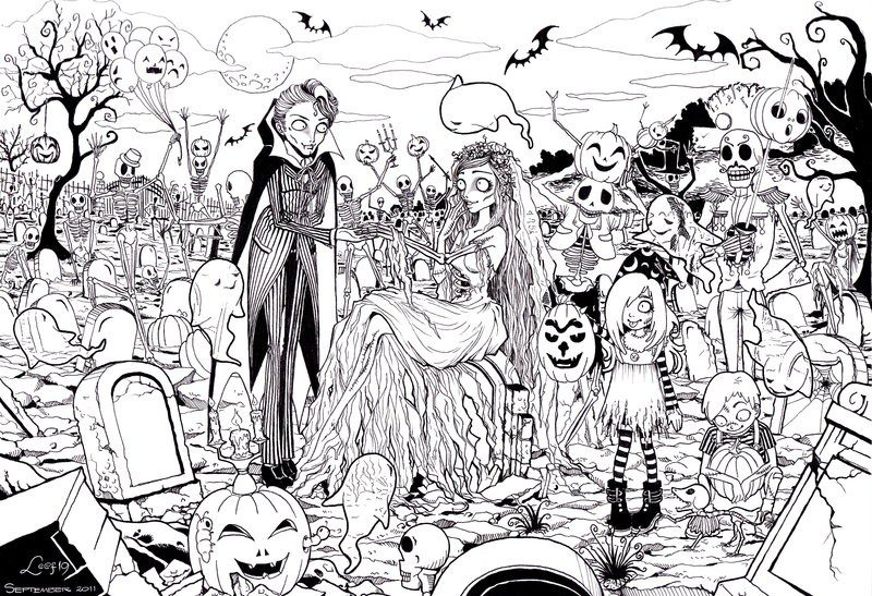 Kolorowanki dla doros ych Halloween do wydruku cz 2