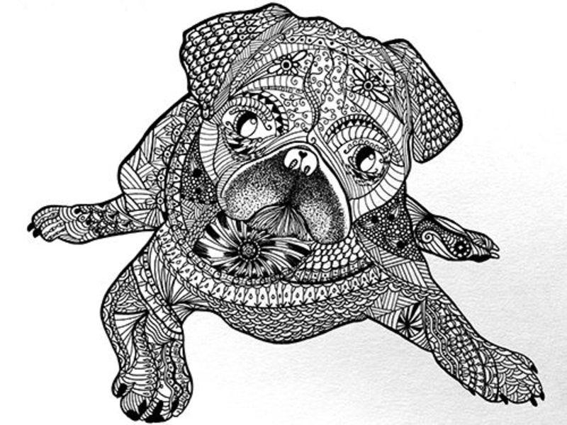 Kolorowanki dla doros ych psy do wydruku cz 2 - Dessin de psy ...